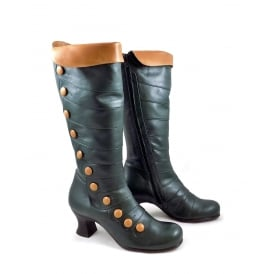 Vladi 1286 Vale Mid Heel Boot with Button Detail