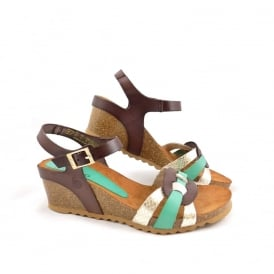 Yokono Cadiz 045 Wedge Sandal with Braid Detail