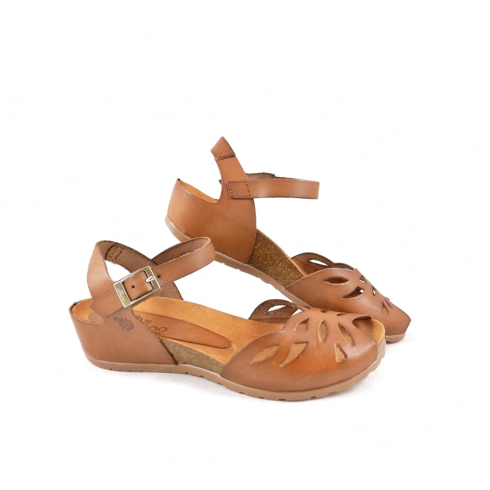 1a75d99ab15 Yokono Capri 003 Peep Toe Low Wedge Sandals in Tan