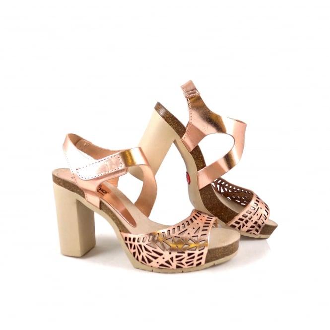 Yokono Malibu 013 High Heel Sandals In Rose Gold Leather