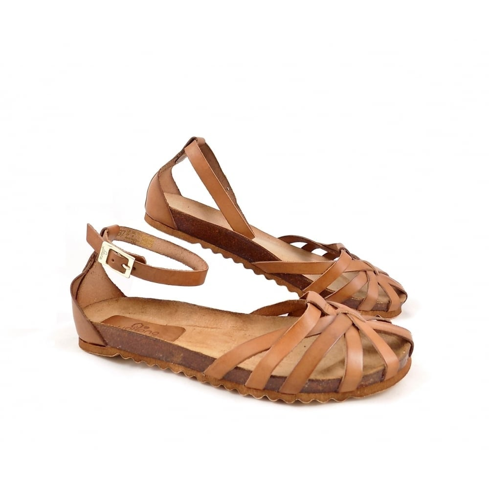 Yokono Villa 011 Closed Toe Sandals In Tan Leather